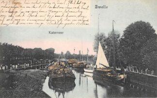 Ansichtkaart Zwolle Katerveer 1905 Binnenvaart schepen Scheepvaart HC30047
