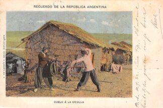 Ansichtkaart Argentinië Recuerdo de la Republica Argentina Duelo a la Criolla Kleinrondstempel Ulrum 1902 Zuid-Amerika HC30116