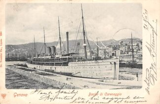 Ansichtkaart Italië Genova Bacini di Carenaggio 1901 Stoomschip Kaiser Wilhelm II Deutschland Duitsland Scheepvaart Italia Europa HC30121