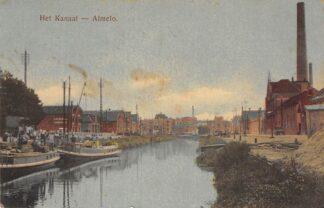Ansichtkaart Almelo Het Kanaal met binnenvaart schepen Fabriek 1918 HC30271