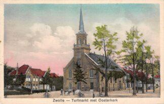 Ansichtkaart Zwolle Turfmarkt met Ooster kerk en boer met koe 1931 HC30412