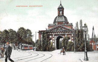Ansichtkaart Amsterdam Muiderpoort 1907 met tram lijn 1 en hondenkar HC30450